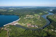 "Hydroelectricity and dam ""Solina"" in the Bieszczady mountains."