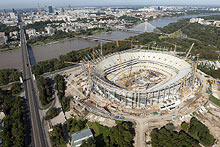 Construction of the National Stadium in Warsaw.